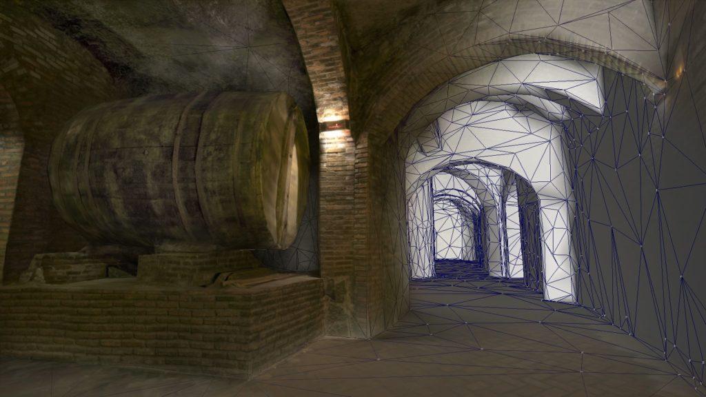 Reconstrucción 3D de espacios. Bodega subterránea barrica